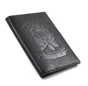 England Black Embossed Leather Passport Wallet with Red Leather Lining Thumbnail 1