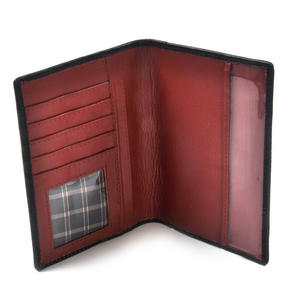 England Black Embossed Leather Passport Wallet with Red Leather Lining Thumbnail 3