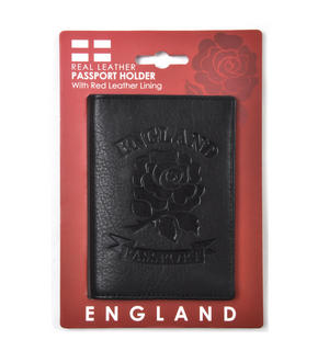 England Black Embossed Leather Passport Wallet with Red Leather Lining Thumbnail 4