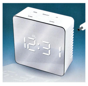White Ice Mirrored Alarm Clock - Super White LED / Polished Finish / Alarm & Snooze / USB & Battery Thumbnail 3