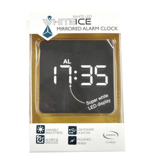 White Ice Mirrored Alarm Clock - Super White LED / Polished Finish / Alarm & Snooze / USB & Battery Thumbnail 4
