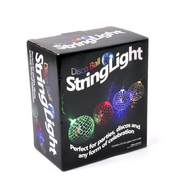 Disco Balls String Lights - 10 Mini Light Up Glass Mirror Balls Pink Cat Shop
