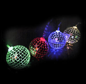 Disco Balls String Lights - 10 Mini Light Up Glass Mirror Balls Thumbnail 1