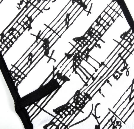 Music Manuscript Black & White Oven Gloves - for Composer / Musician / Orchestra