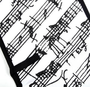 Music Manuscript Black & White Oven Gloves - for Composer / Musician / Orchestra Thumbnail 1