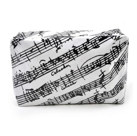 Music Manuscript Black & White Washbag /  Make Up Bag