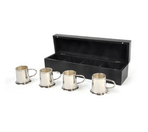 4 Tankard Shot Set - Brass & Nickel Plate with Black Wooden Presentation Box