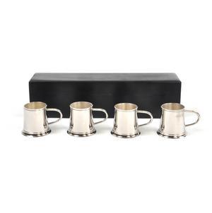 4 Tankard Shot Set - Brass & Nickel Plate with Black Wooden Presentation Box Thumbnail 4