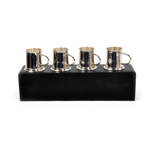 4 Tankard Shot Set - Brass & Nickel Plate with Black Wooden Presentation Box Thumbnail 5