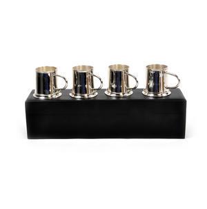 4 Tankard Shot Set - Brass & Nickel Plate with Black Wooden Presentation Box Thumbnail 5