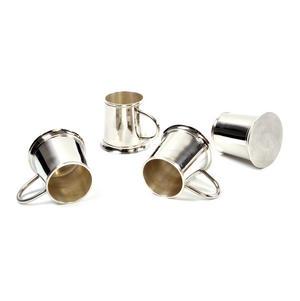 4 Tankard Shot Set - Brass & Nickel Plate with Black Wooden Presentation Box Thumbnail 6