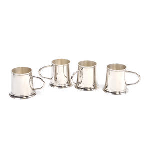 4 Tankard Shot Set - Brass & Nickel Plate with Black Wooden Presentation Box Thumbnail 7