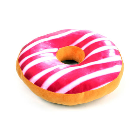 35cm / 14 inch Donut Pillow - Pink Stripe Doughnut Replicushion