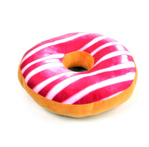 35cm / 14 inch Donut Pillow - Pink Stripe Doughnut Replicushion Thumbnail 1