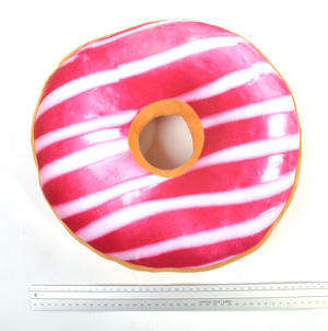 35cm / 14 inch Donut Pillow - Pink Stripe Doughnut Replicushion Thumbnail 3