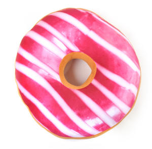 35cm / 14 inch Donut Pillow - Pink Stripe Doughnut Replicushion Thumbnail 4