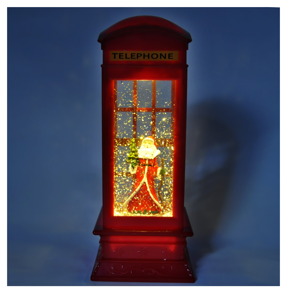 Santa Claus In A Red Telephone Box With Snow Storm Amp Light