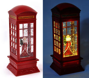 Santa Claus in a Red Telephone Box with Snow Storm & Light Show Thumbnail 1
