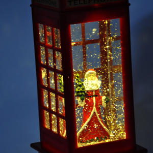 Santa Claus in a Red Telephone Box with Snow Storm & Light Show Thumbnail 3