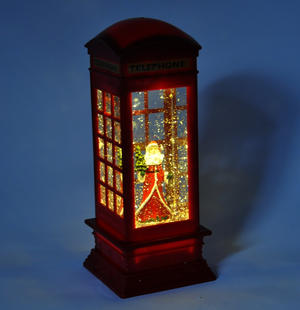 Santa Claus in a Red Telephone Box with Snow Storm & Light Show Thumbnail 4