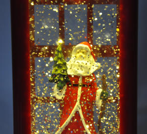 Santa Claus in a Red Telephone Box with Snow Storm & Light Show Thumbnail 5