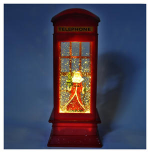 Santa Claus in a Red Telephone Box with Snow Storm & Light Show Thumbnail 6
