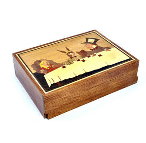 Alice in Wonderland Tea Party Secret Marquetry Stash Box with Invisible Opening System 15 x 20cm