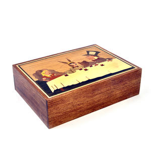 Alice in Wonderland Tea Party Secret Marquetry Stash Box with Invisible Opening System 15 x 20cm Thumbnail 5