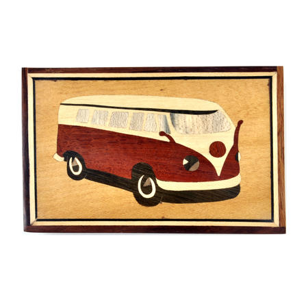 Camper Van Secret Marquetry Stash Box with Invisible Opening System 11 x 17cm