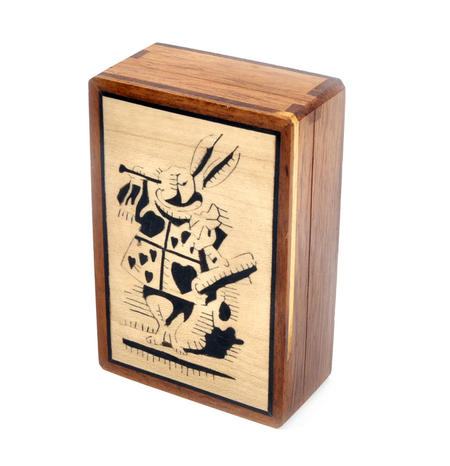 Alice in Wonderland White Rabbit Secret Marquetry Stash Box with Invisible Opening System 8 x 12cm