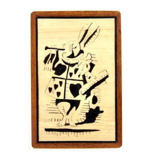Alice in Wonderland White Rabbit Secret Marquetry Stash Box with Invisible Opening System 8 x 12cm Thumbnail 2
