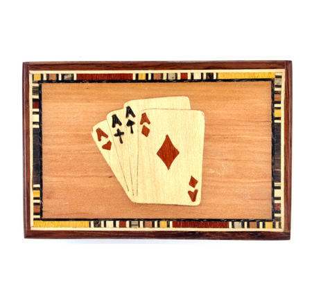 Four Aces Secret Marquetry Stash Box with Invisible Opening System 8 x 12 cm