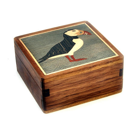 Puffin Secret Marquetry Stash Box with Invisible Opening System 8 x 8 cm