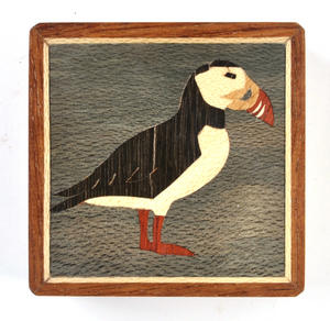 Puffin Secret Marquetry Stash Box with Invisible Opening System 8 x 8 cm Thumbnail 2