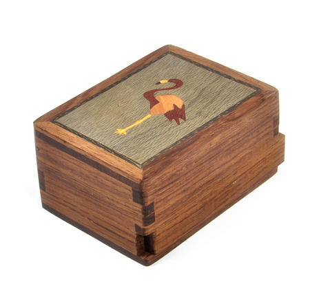 Flamingo Secret Marquetry Stash Box with Invisible Opening System 8 x 6 cm