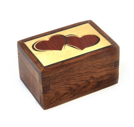 Lovehearts Secret Marquetry Stash Box with Invisible Opening System 6 x 6 cm