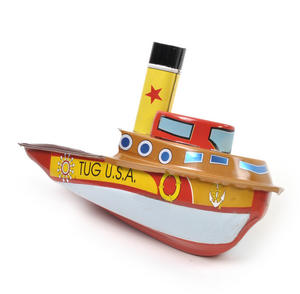 Tug Boat Pop Pop Boat  - Classic Candle Powered Tin Toy Thumbnail 2