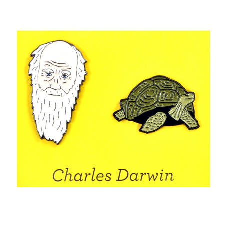 Charles Darwin & Tortoise Twin Pin Set - Badge / Pin / Lapel Pin by Unemployed Philosophers Guild