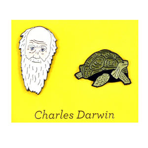 Charles Darwin & Tortoise Twin Pin Set - Badge / Pin / Lapel Pin by Unemployed Philosophers Guild Thumbnail 1