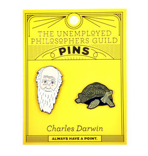 Charles Darwin & Tortoise Twin Pin Set - Badge / Pin / Lapel Pin by Unemployed Philosophers Guild Thumbnail 2