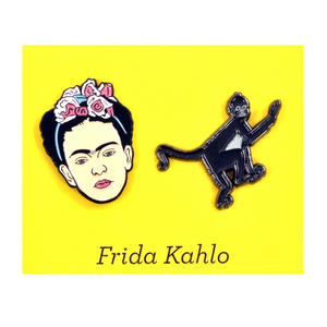 Frida Kahlo & Monkey Twin Pin Set - Badge / Pin / Lapel Pin by Unemployed Philosophers Guild Thumbnail 1