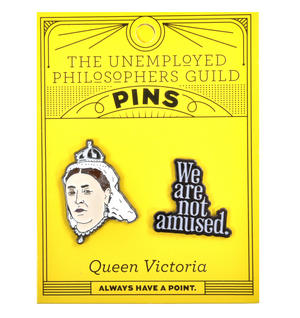Queen Victoria & We Are Not Amused Twin Pin Set - Badge / Pin / Lapel Pin by Unemployed Philosophers Guild Thumbnail 2