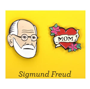 Sigmund Freud & Mum Twin Pin Set - Badge / Pin / Lapel Pin by Unemployed Philosophers Guild Thumbnail 1