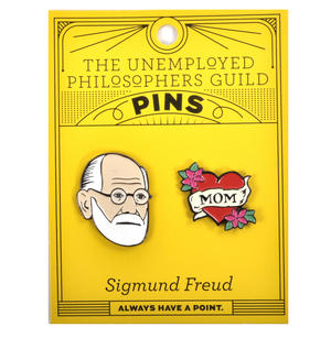 Sigmund Freud & Mum Twin Pin Set - Badge / Pin / Lapel Pin by Unemployed Philosophers Guild Thumbnail 2