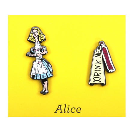 Alice in Wonderland & Drink Me Twin Pin Set - Badge / Pin / Lapel Pin by Unemployed Philosophers Guild