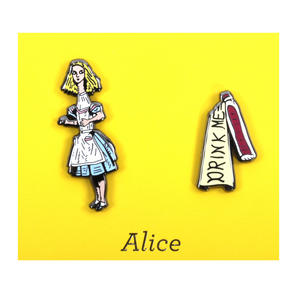 Alice in Wonderland & Drink Me Twin Pin Set - Badge / Pin / Lapel Pin by Unemployed Philosophers Guild Thumbnail 1