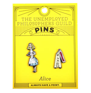 Alice in Wonderland & Drink Me Twin Pin Set - Badge / Pin / Lapel Pin by Unemployed Philosophers Guild Thumbnail 2