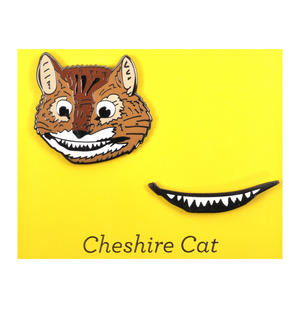 Cheshire Cat & Smile Twin Pin Set - Badge / Pin / Lapel Pin by Unemployed Philosophers Guild