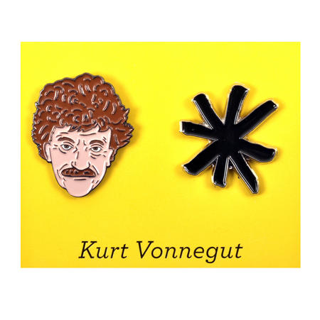 Kurt Vonnegut & Asterisk Twin Pin Set - Badge / Pin / Lapel Pin by Unemployed Philosophers Guild