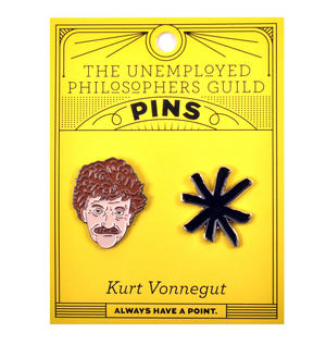Kurt Vonnegut & Asterisk Twin Pin Set - Badge / Pin / Lapel Pin by Unemployed Philosophers Guild Thumbnail 2